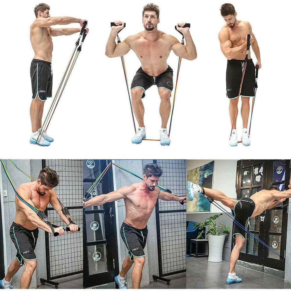 Update 150LB 11 Resistance Bands Set Gym Exercise Training