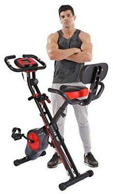 PLENY Upright Stationary Exercise Bike with Arm Exercise Res