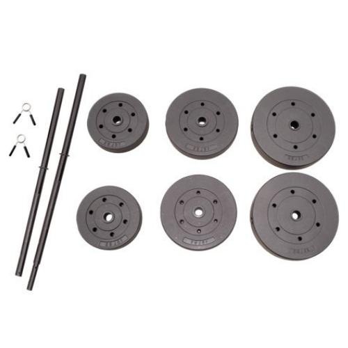 Vinyl Weight Set 100lb Barbell Weights Home Gym Fitness Equi
