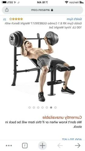 Weight Bench with 100lb Weight - - GYM- HAND!