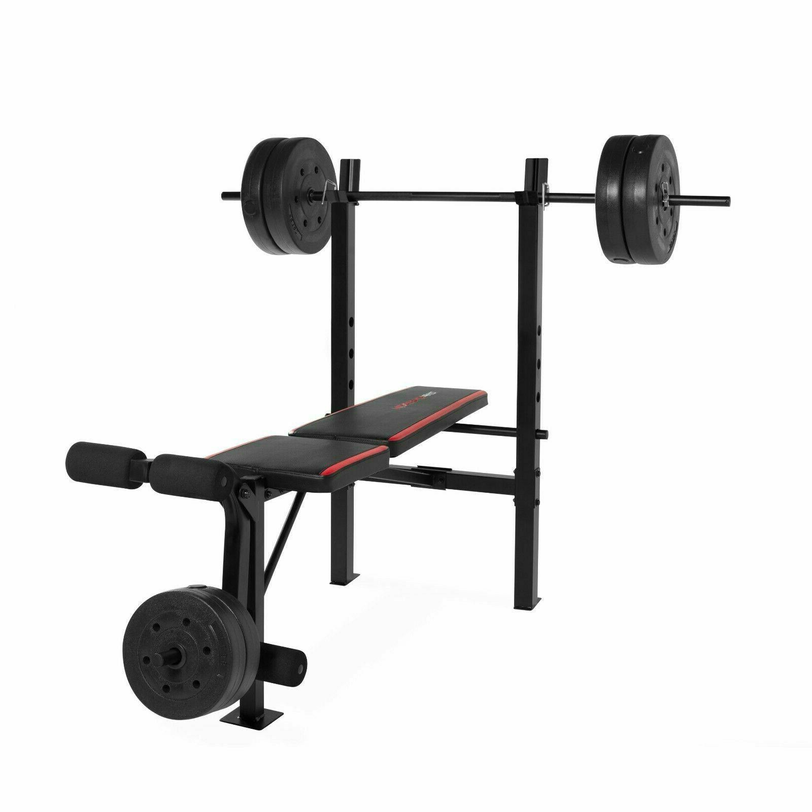 Weight Bench With Weight Set 100 LB Bar Press Barbell Dumbbe