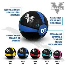 Valeo 10 lb Medicine Ball With Sturdy Rubber Construction An