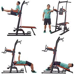 Multifunction Power Tower Dip Station with Bench Adjustable