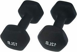 AmazonBasics Neoprene Dumbbells 12-Pound, Set of 2, Black