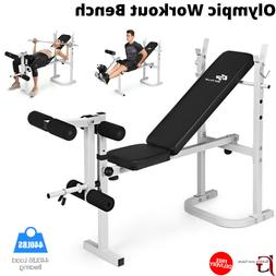New Adjustable Gym Olympic Workout Bench With Preacher Pad F