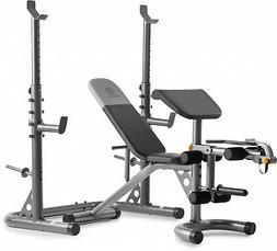 Olympic Workout Bench W/ Squat Rack Home Gym Multi-Position