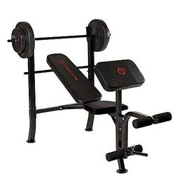 Marcy OPP Standard Bench with 80 lb Weight Set, Black/Black