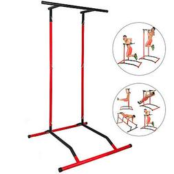 Portable Pull Up Dip Station Gym Bar Power Tower Stretch Wor