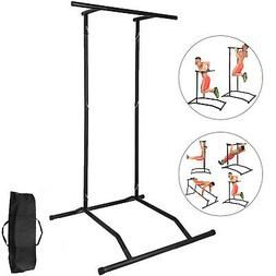 Portable Pull Up Dip Station Gym Bar Power Tower Steel Multi