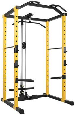 Power Cage Squat Rack Lat Pull Down 1000 lb Home Gym Dip Bar