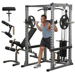 Body-Solid Power Rack Lat Package w/ Bench GPR378P4 Home Gym