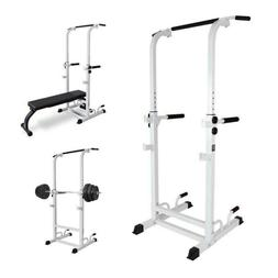 Power Tower Dip Station With Bench Bar Adjustable Pull Up Ba