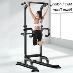 Adjustable Dip Station Chin Up Bar Power Tower Pull Up Home