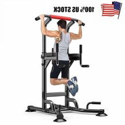 Pull Up Power Tower Workout Dip Station Stretch Machine Gym