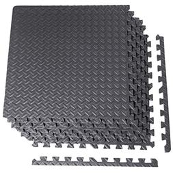 "CAP Barbell 6-Piece Puzzle Exercise Mat, Black, 1/2"" Thick"
