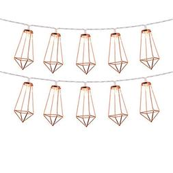 GYM HEROES Rose Gold Geometric String Lights,5 FT 10 LED Fai