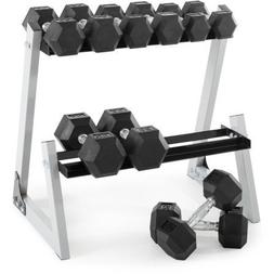 Weider 200 lb Rubber Hex Dumbbell Weight Set, 10-30 lb with
