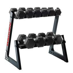 Weider 200-Pound Rubber Hex Dumbbell Set with Rack