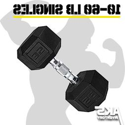 Rubber Hex Dumbbell SINGLES Free Weights Home Gym Cast Iron