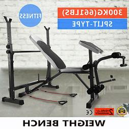 Weight Bench Set Home Gym Deluxe W/660Lbs Weights Lifting Pr