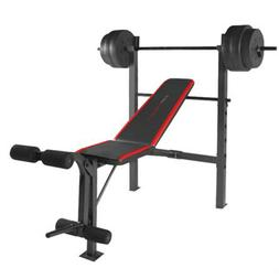 Weight Bench Set With Bar and Weights 100 lb Lifting Exercis