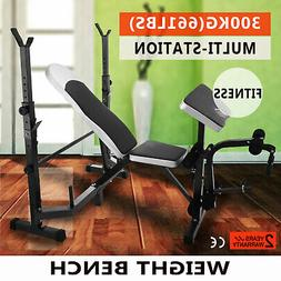 Weight Bench Set With Weights Home Gym Olympic Press Lifting