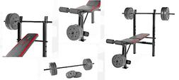 Weight Bench With Weights Set 100 Lb Bar Press Barbell Gym H