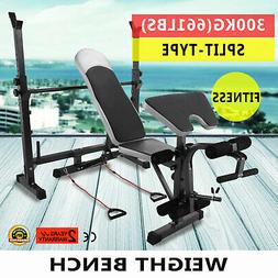 Weight Lifting Bench 660 LBS Fitness Home Gym Adjustable Fla