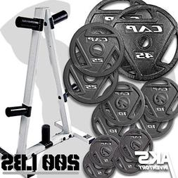 """Weight Plates 200lb & Plate Tree Storage Rack Olympic 2"""" Hom"""