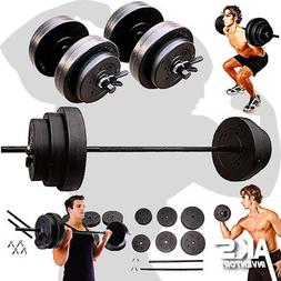 Weight Sets 140lbs Barbell Dumbells Home Gym Fitness Equipme