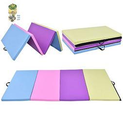 "COSTWAY 4' x 8' x 2"" Multi-Colors Folding PU Panel Gymnastic"